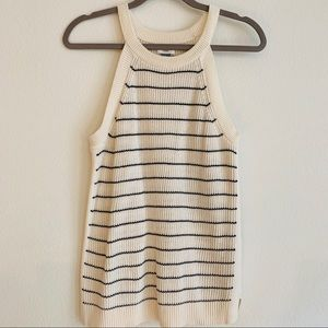 Old Navy Cream Navy Striped High Neck Knit Top